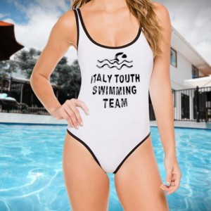 MONOKINI białe z napisem ITALY TOUTH SWIMMING TEAM